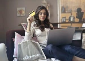 Woman shipping online to save money