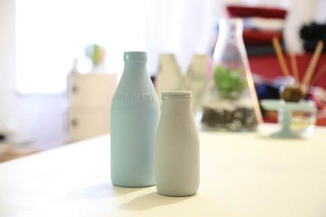 Raw dairy in glass bottles