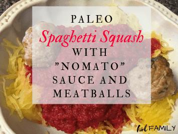 Paleo Spaghetti Squash with nomato sauce and meatballs