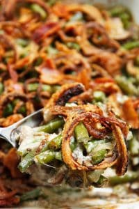 dairy-free green bean casserole with fried onions