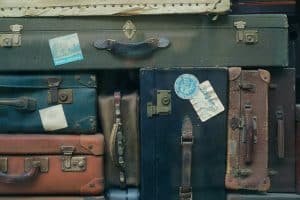 Stacks of vintage suitcases