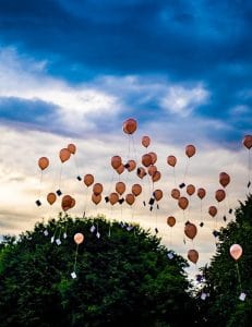 Balloons floating up into the sky