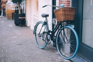 Bicycle with brown basket