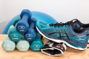 Dumbbell and running shoes for weight bearing exercise