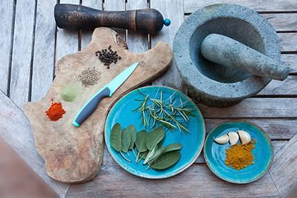 Fresh herbs on a cutting board