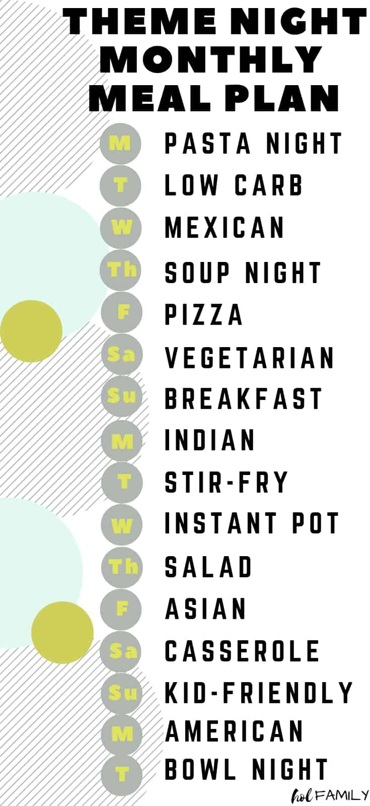 Theme Night Monthly Meal Plan