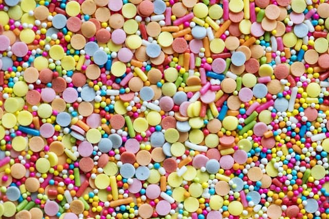 Colourful candy with harmful artificial ingredients