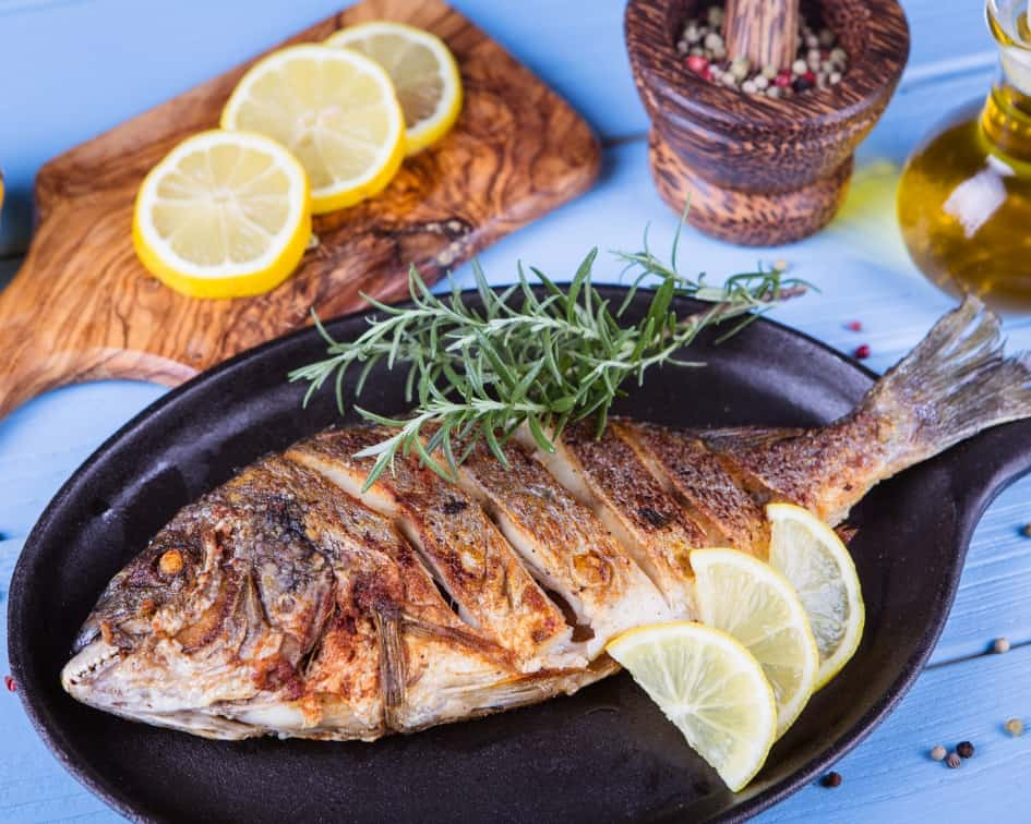 Grilled fish and lemons